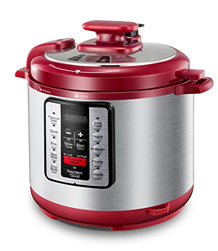 Electric Pressure Cooker ICOOKPOT 9-in-1 Multi- Use Programmable Smart Pressure Cooker, Slow Cooker, Yogurt Maker, Rice Cooker, Steamer, Soup and Warmer, Steam Rack and Recipes