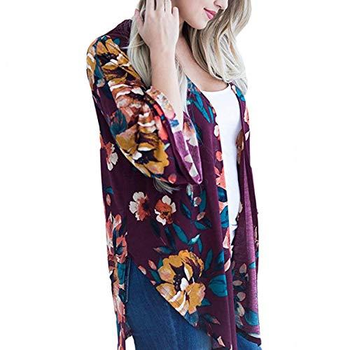 Cover exteriores Deep Coat Cardigan Up vestir larga abierta Invierno de ZFFde Women Floral delantera prendas manga Kimono Color tamaño red 2XL IqYTwWZ