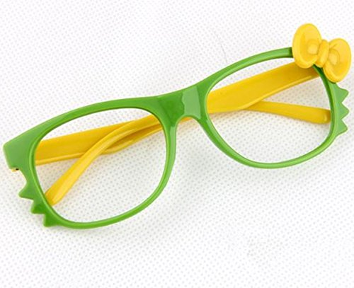 FancyG® Cute Nerd Glass Frame with Bow Tie Cat Eyes Whiskers Eyewear for Kids 3-12 NO LENS - Green/Yellow with Yellow Bow (Whiskers Cat Halloween)