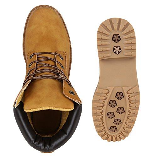 Stiefelparadies Gefütterte Herren Worker Boots Outdoor Schuhe Schnürstiefel Flandell Hellbraun Autol