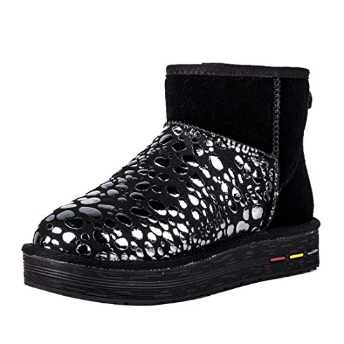 5851 Black Bubble Boots Nubuck Snow Women's HooH PW7Xpn