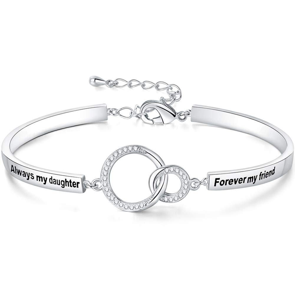 Ado Glo ❤️Birthday Gift for Her❤️ 'Always My Daughter Forever My Friend' Interlocking Circles Bracelet, White Gold Plated Fashion Jewelry for Women and Girls, Anniversary Present from Father, Mother