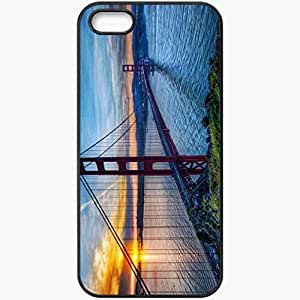Protective Case Back Cover For iPhone 5 5S Case Bridge Water Coast Sun Black