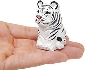 White Tiger Figurine Decoration Wooden Statue Snow Bleached Albino Art Cat Bengal Striped Miniature Carved Small Animal Sculpture