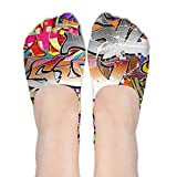 Crazy No Show Socks Women Graffiti Hip-hop Colorful Low Cut Loafers Ankle Socks Women