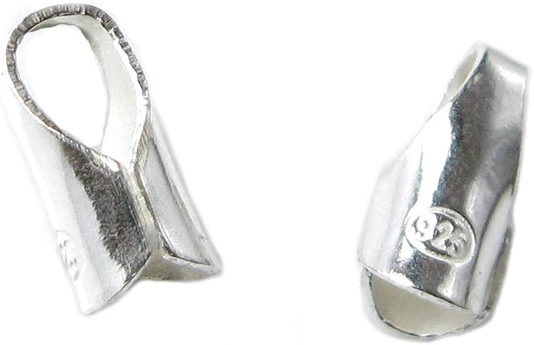 .925 Sterling Silver Bright 3mm 4mm Round Leather Cord End Cap//Findings//Bright