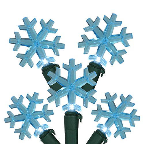 "Northlight Seasonal Set of 20 Blue LED Snowflake Christmas Lights 4"" Spacing - Green Wire from Northlight Seasonal"