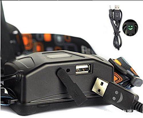 2 Pcs 18650 Battery C/âble de Charge USB chargeur pour LED lampe Frontale Torch Phare Cree T6 U2 L2 Q5 C/âble de Charge de 3,5 mm Barrel Jack USB