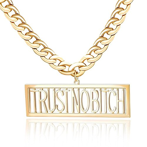 [Alloy Punk TRUST NO BITCH Necklace Statement Letters Hiphop Jewelry for Costume Party (Gold Tone)] (Letter W Halloween Costumes)