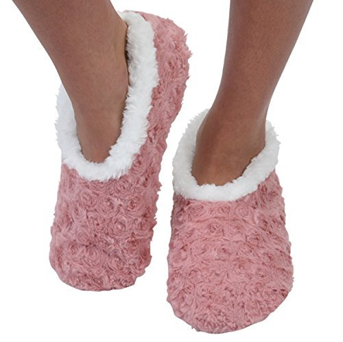 Snoozies Womens Bed Of Roses Cozy Sherpa Fleece Non Skid Slipper Socks - Blush, Large
