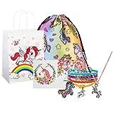 Unicorn Gifts for Girls, Unicorn Goodie Bags, Unicorn Backpack, Necklace Bracelet Keychain Backpack Gift Card Set (Rainbow)