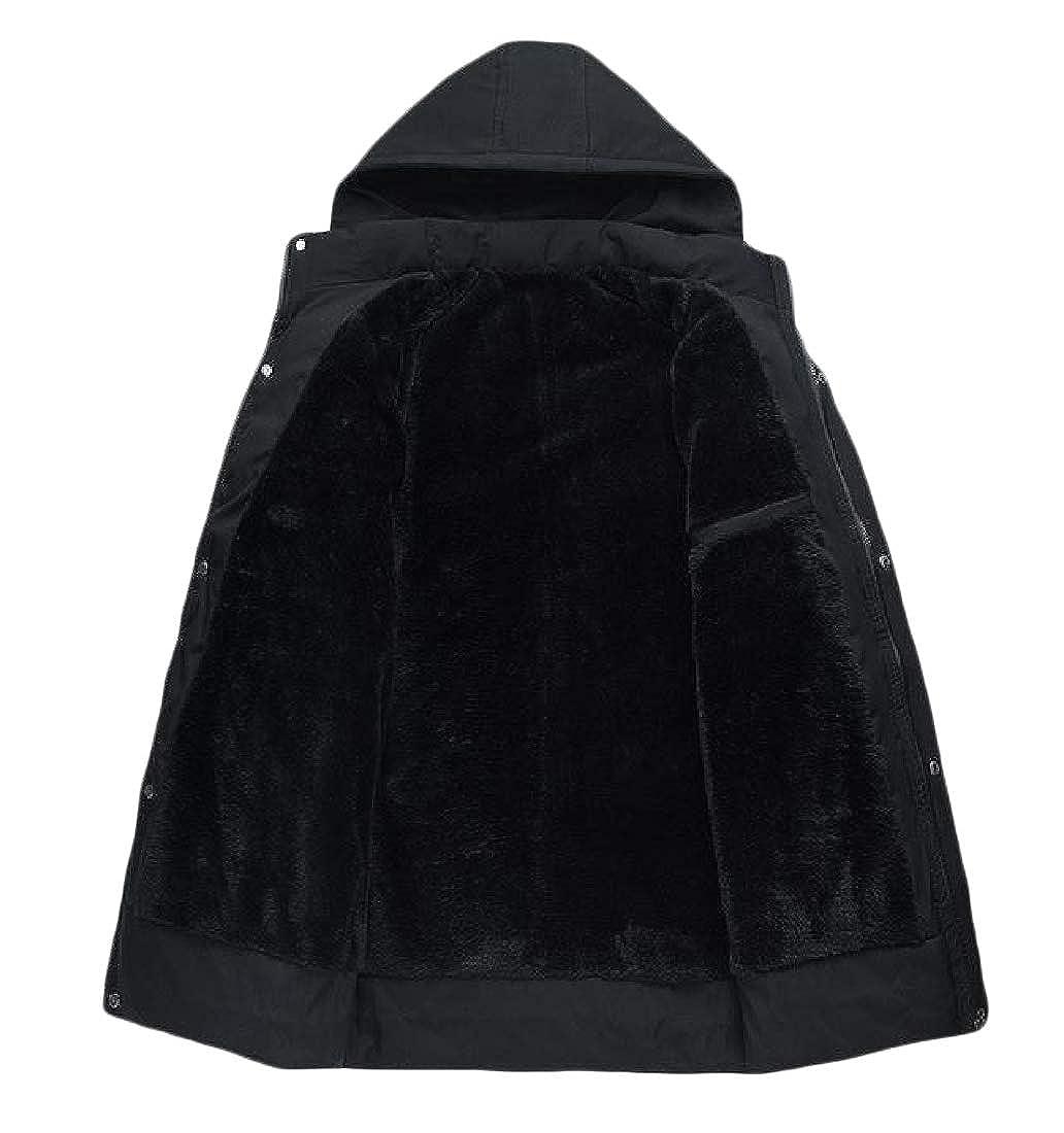 Zimaes-Men Casual Winter Mid Long Fleece Hood Parka Jacket Coat Outwear