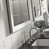 "frame a mirror Delta AFMRM1-WDH-R Wall Mount Vanity, Bedroom or Bathroom Mirror, Hangs Horizontal or Vertical, 28""x36"" Framed Flush Mount Rectangular Mirror, TRUClarity Deluxe Glass, Matte White Frame"