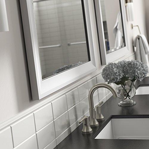 "Delta AFMRM1-WDH-R Wall Mount Vanity, Bedroom or Bathroom Mirror, Hangs Horizontal or Vertical, 28""x36"" Framed Flush Mount Rectangular Mirror, TRUClarity Deluxe Glass, Matte White Frame"