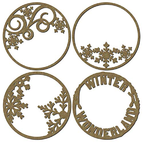 Winter Theme Artist Trading Coins - Laser Cut Scrapbook Chipboard - 4 Piece Set