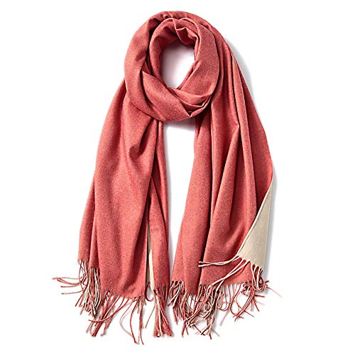 SOJOS Two-tone Scarf Cashmere Feel Wool Wraps Shawls Women Large Soft Scarves SC3002 with Red&Beige