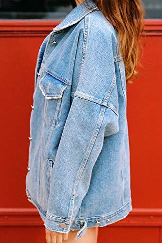 Donna Maniche Primaverile Cappotto Jeans Fashion Autunno Base Elegante Blau Tendenza Giacca Chic Outerwear Libero Coat Tempo Swag Ragazza Relaxed Streetwear Lunghe 1tqqwXx5Wn