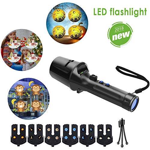 LED Projector Flashlight for Kids GEEKHOM Projection Lamp and Flashlight 2 in 1 Handheld Projector Light for Halloween, Thanksgiving, Christmas, Valentine's Day, Birthday -