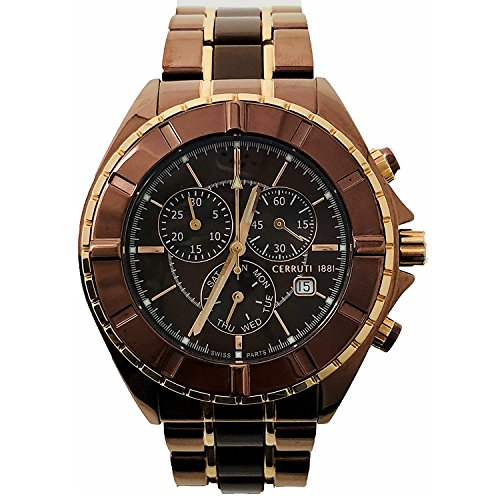 Cerruti 1881 Mens Chronograph Watch Brown Rose Gold Tone with Ceramic Strap CRWA006M231G