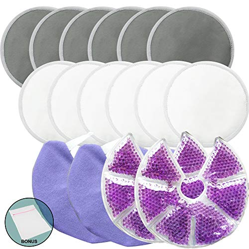 (Jalousie Reusable Bamboo Fiber Nursing Pads and Breast Therapy Gel Pads Bundle with Bonus Laundry Bag - Include 12 Bamboo Nursing Pads and 2 Gel Pads with Cover Bonus Laundry Bag)