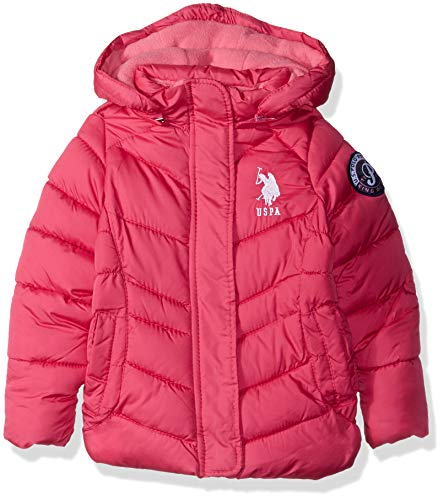 (US Polo Association Girls' Big Hooded Bubble Jacket with Piping Detail, Fuchsia Purple, 7/8)