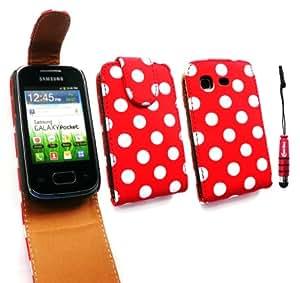 Emartbuy ® Stylus Pack Para Samsung S5300 Galaxy Pocket Premium Pu Leather Flip Case / Cubierta / Funda Lunares Rojo / Blanco + Mini Metallic Red Stylus + Protector De Pantalla