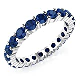3.50MM Sterling Silver 925 Blue CZ Eternity Engagement Wedding Band Ring