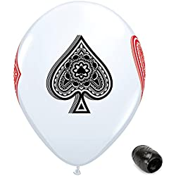 "10 Pack 11"" Poker Deck Card Suits Game Night Latex Balloons with Matching Ribbons"