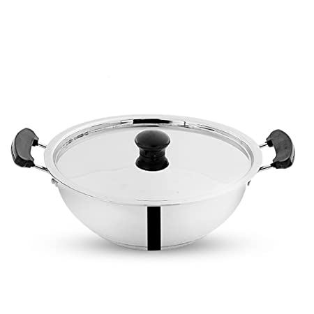 Pigeon Tri Ply Kadai with Lid, 24 cm Frying Pans