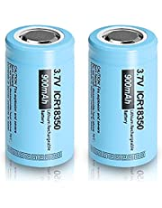 18350 3.7V 900mAh Rechargeable Li-ion Battery with Flat top Battery (Blue) 2 Pack