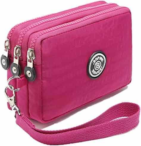 1c693f3af1 Three Layer Zipper Purse Waterproof Nylon Wallet Handbag Cell Phone Pouch  Coin Purse