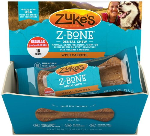 Zuke's Z-Bone Dental Chew w/Carrots, Regular 18ct