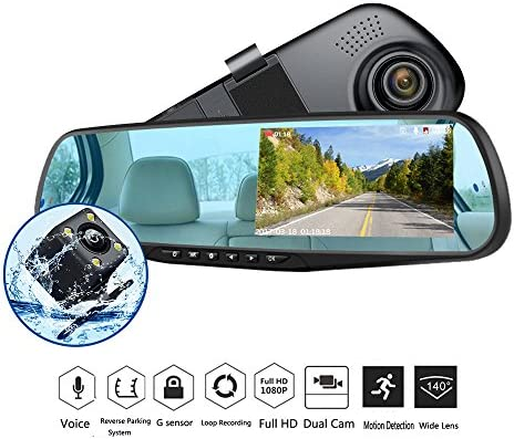 Dash Cam 1080p Full Hd 4 3 Lcd Mirror Car Video Recorder Dual Lens Vehicle Camera Car Dvr Road Dash Cam With Night Vision Motion Detection