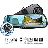 Dash Cam 1080P Full HD 4.3 LCD Mirror Car Video Recorder Dual Lens Vehicle Camera Car DVR Road Dash Cam with Night Vision Motion Detection