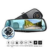 Dash Cam 1080P Full HD 4.3'' LCD Mirror Car Video Recorder Dual Lens Vehicle Camera Car DVR Road Dash Cam with Night Vision Motion Detection