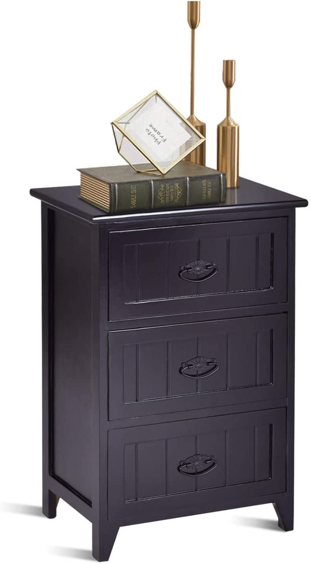 Giantex 3 Drawers Nightstand End Table Bedroom W/Storage, Solid Structure and Stable Frame Elegant Style Organizer Wooden Side Bedside Table (1, Black)