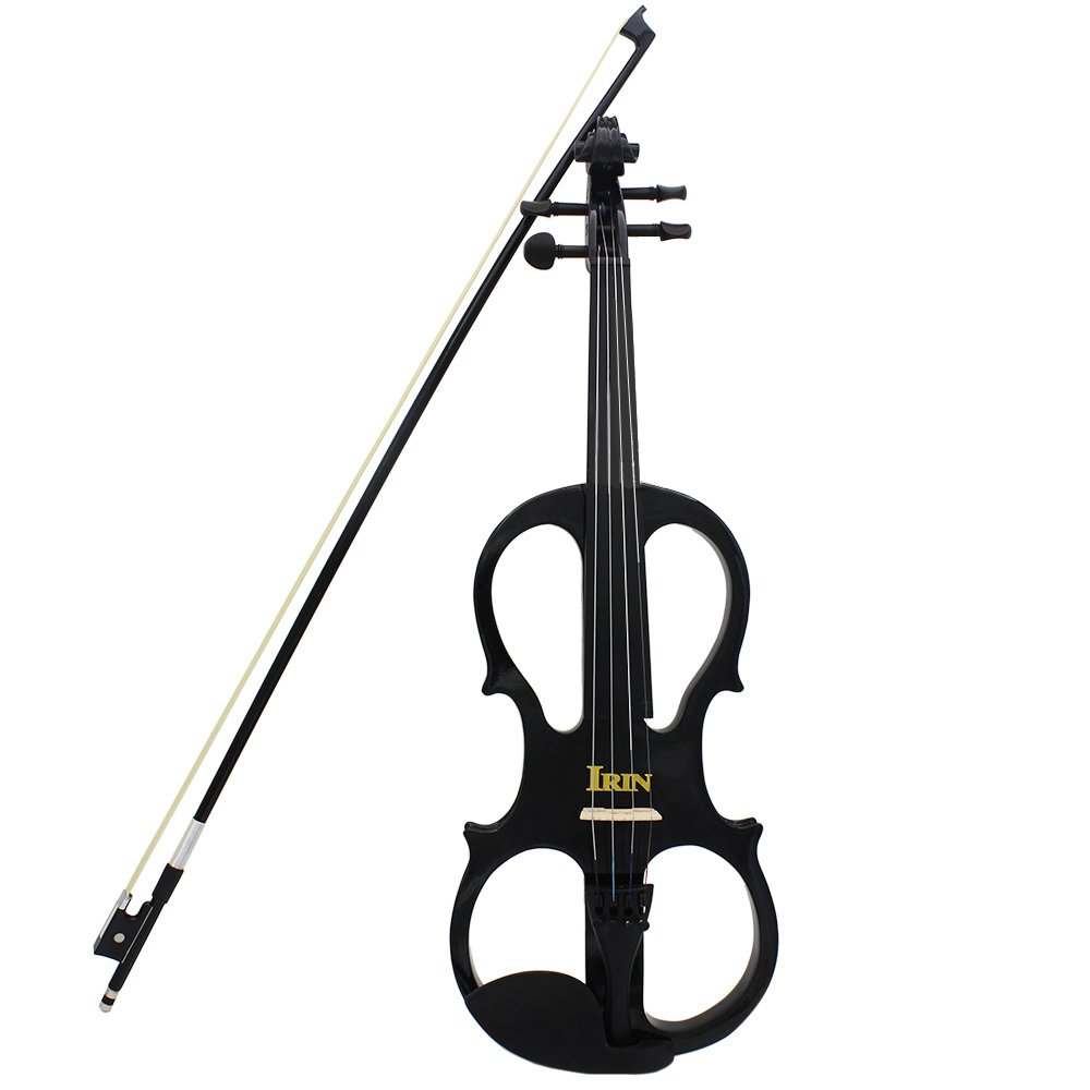 ammoon 4/4 Wood Maple Electric Violin Fiddle Stringed Instrument with Ebony Fittings Cable Headphone Case for Music Lovers Beginners