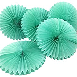 "Uniquemystyle 5pcs 8"" Tissue Paper Fan Flowers Wedding Party Decoration (Mint Green)"