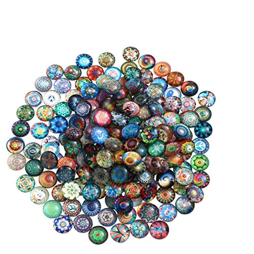 Healifty 200pcs Mosaic Printed Picture Glass Half Round Dome cabochons Tiles for Jewelry Making 10mm
