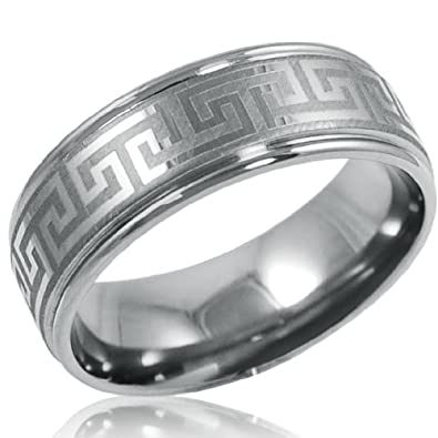 8mm Comfort Fit Greek Key Titanium Wedding Band Choose Your Ring Size 8 12