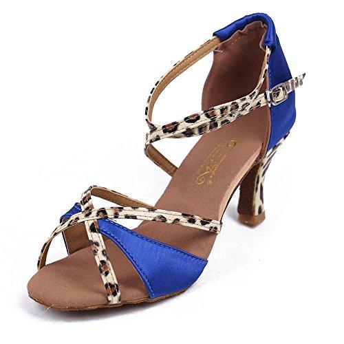 YFF Las mujeress Ballroom América tango baile zapatos de tacón sandalias de satén de Salsa 5cm Blue