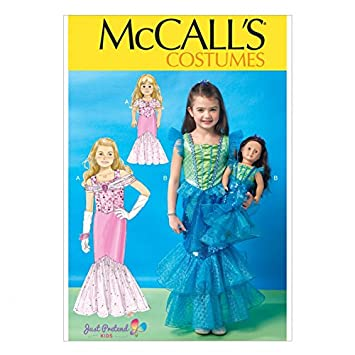 McCall \'s Mädchen & Puppen Schnittmuster 7175 Meerjungfrau Kostüm + ...