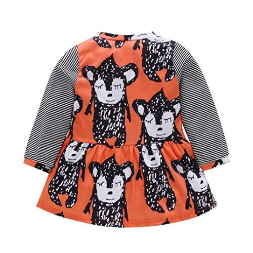 Dinlong Kid Girl Dress Long Sleeve Halloween Cartoon Animal Print Princess Cloth (4-5 Year, Orange) -