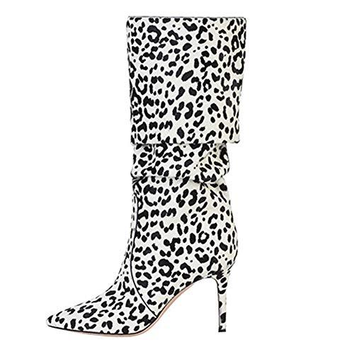 Mano SYYAN Stivali Scamosciato Sexy Pompa Alto 37 White Donna Inverno Tacco Leopardo A Centrali Fatto r4wSrzfq