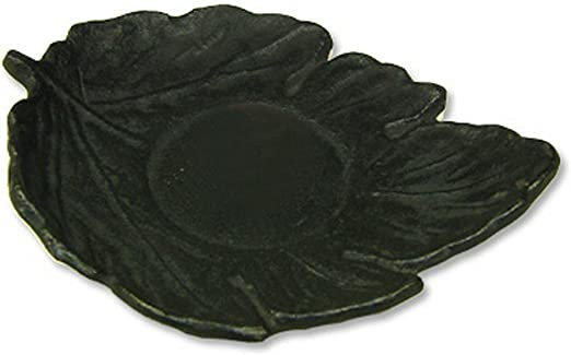 Happy Sales HSCR-LFBK01 Cast Iron Coaster Leaf Black 5 x 4 x 0.5 inches