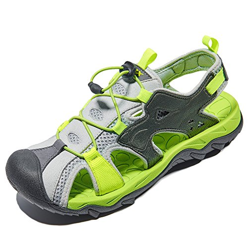 RAX Men's Outdoor Sport Sandals Closed Toe Water Shoes for Kayaking Boating Canoeing 9.5 US Grey