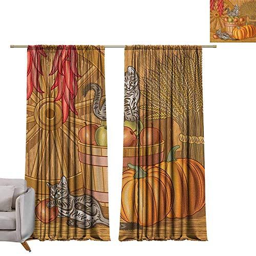 (Curtains and Drapes Harvest,Retro Barn with Two Kittens Pumpkins Dried Peppers Apples in Basket Wheat, Vermilion Orange Tan W72 x L96 Window Drape for Bedroom)