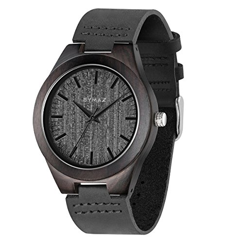 Bymax Men Wood Watch  Handmade Vintage Analog Quartz Wooden Wrist Watches With Leather Strap Band Black