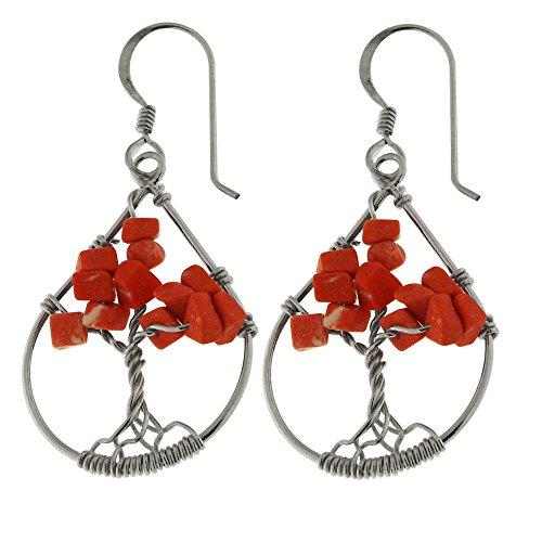 Red Jasper Gemstone Handmade Teardrop Tree of Life 925 Sterling Silver Wire Wrap Hook Earring