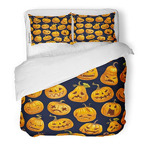 Emvency 3 Piece Duvet Cover Set Brushed Microfiber Fabric Breathable Halloween Scary Pumpkins Pattern Cartoon Lantern Skull Monster Fire Eyes Bedding Set with 2 Pillow Covers King Size